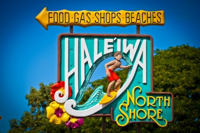 Sign for Hale'Iwa on Oahu's North Shore