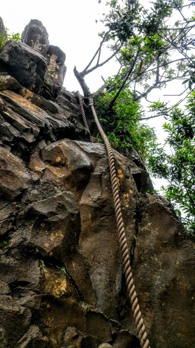 Ropes required to reach the peak on Oloman Trail on Oahu