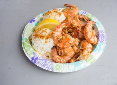 Plate of shrimp and rice