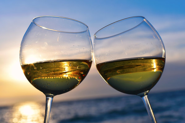 Two Wine Glasses Beach Background