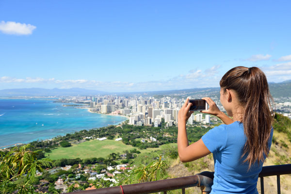 Woman enjoying view from Diamond Head Crater.
