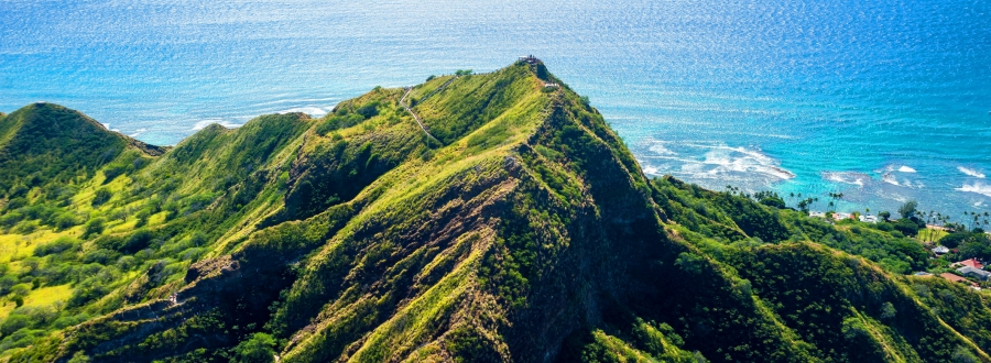 Overhead view of Diamond Head Crater - an Oahu attraction