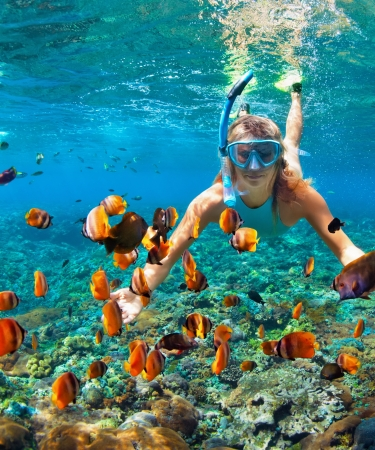 Lady snorkeling with fish