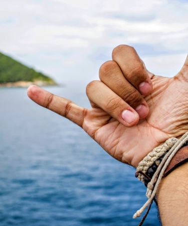 Hawaiian hand signal called shaka