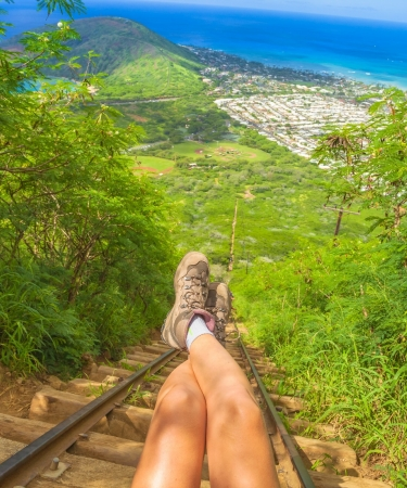View from top of Koko Head crater on Oahu