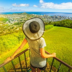 Woman enjoying the view from Pau Ualakaa State Park - an Oahu attraction