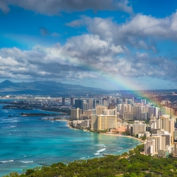 Aerial view of rainbow over Waikiki Beach