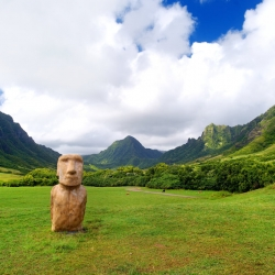 Easter Island head on kualoa Ranch on Oahu