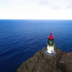 Aerial view of Makapu'u Lighthouse - an attraction on Oahu