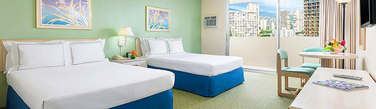 Guest room at Ambassador Hotel Waikiki Beach