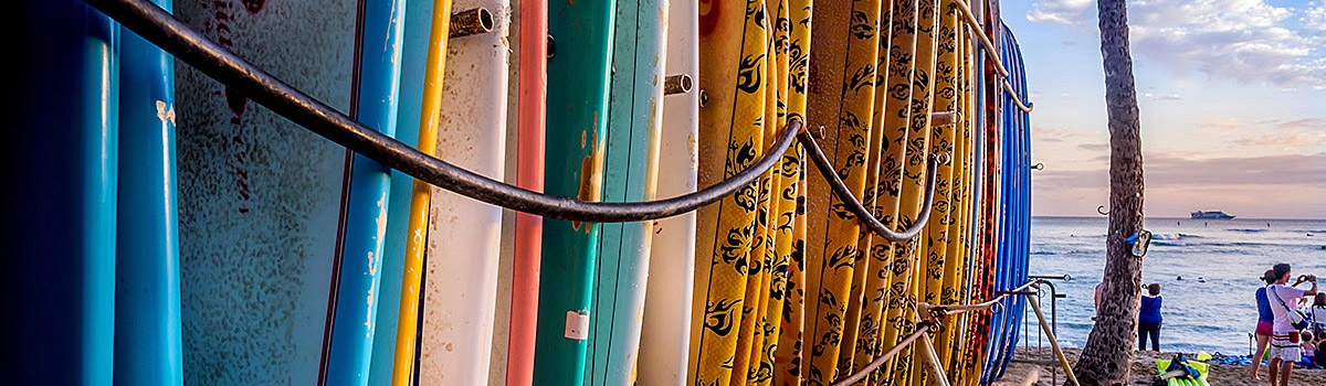 Line of colorful surboards
