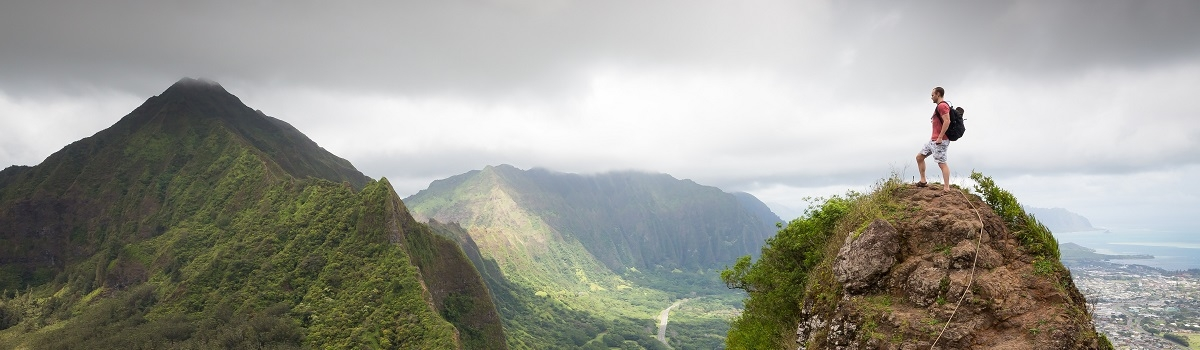 Oahu hiker in peak