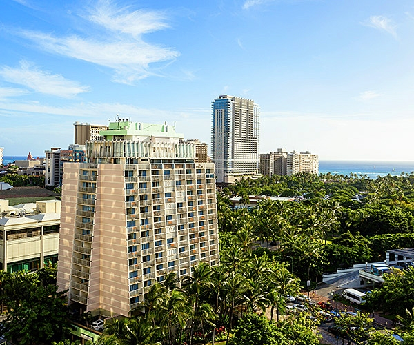 View from balcony at Ambassador Hotel Waikiki - an Oahu Hotel