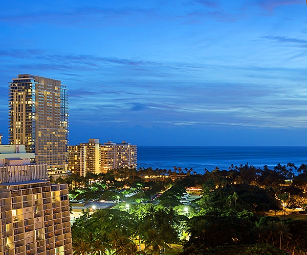 Evening view from Ambassador Hotel Waikiki Beach