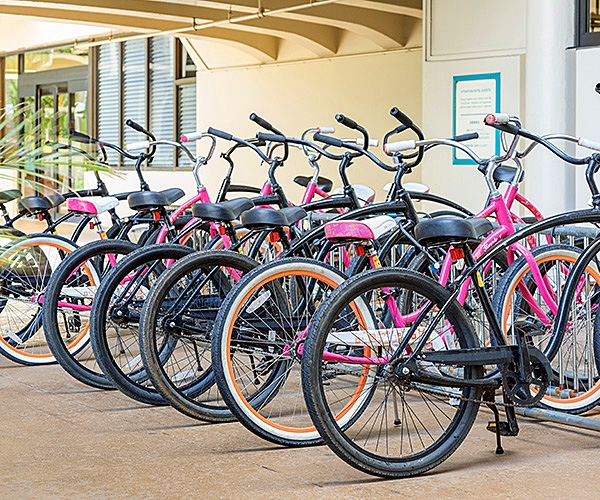 Row of colorful beach cruiser bicycles