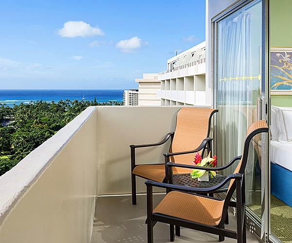 Guest room balcony at Ambassador Hotel Waikiki Beach