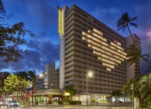 Exterior of Ambassador Hotel Waikiki Beach on Oahu