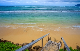 Stairs leading to an beach on Oahu