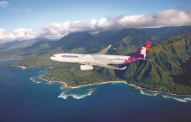 Hawaiian Airline Plane Over Hawaii