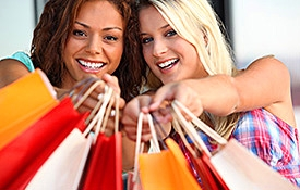 Women with Shopping Bags, Oahu Shopping