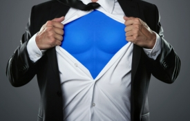 Man in Suit with Superhero Costume Underneath