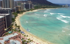 Overhead view of Waikiki Beach - an Oahu Attraction